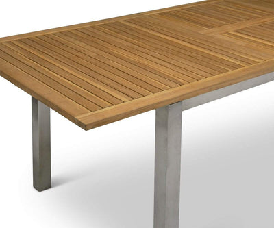 Farino Extension Dining Table Teak/Brushed Stainless Steel - Scandinavian Designs