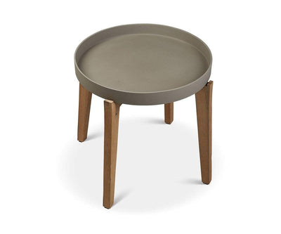 "Matera Round Accent Table Natural Cement/Acacia / 24""H - Scandinavian Designs"