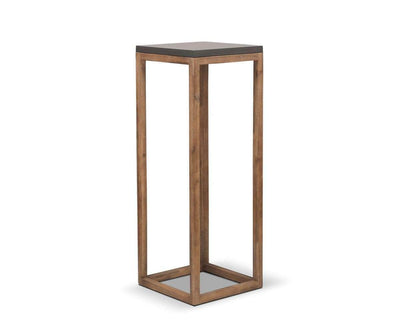 "Atlas Pedestal Natural Cement/Natural Acacia / 46""H - Scandinavian Designs"
