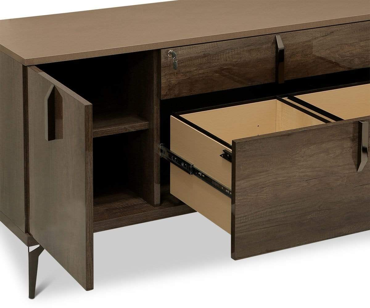 Akana Credenza High Gloss Brown - Scandinavian Designs