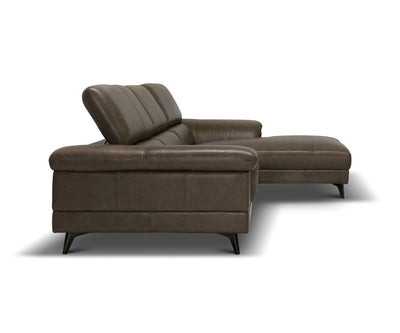 Quaid Leather Right Chaise Sectional Mushroom HL417 - Scandinavian Designs