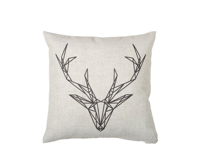 Black and White Deer Pillow Cover White/Multi - Scandinavian Designs