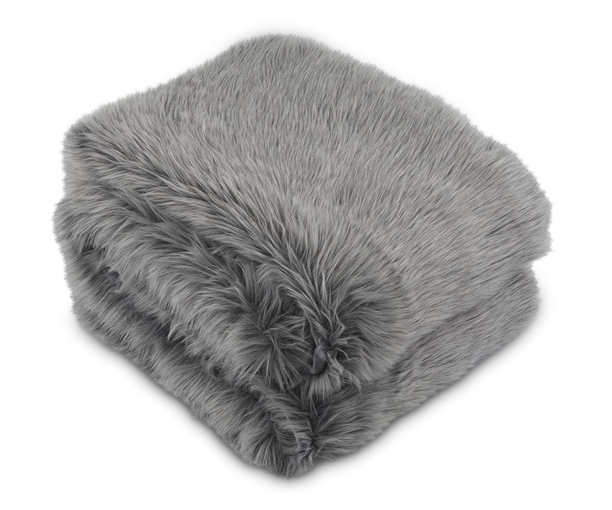 Rorik Faux Fur Throw - Grey - Scandinavian Designs