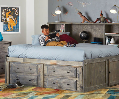 Brennan Full Captain's Bed Grey Driftwood / Full - Scandinavian Designs