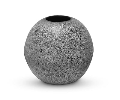 "Steigen Round Vase - Black Black Crackle / 12"" - Scandinavian Designs"