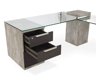 Alva Executive Desk, Left-Facing Return ALVA GREY - Scandinavian Designs