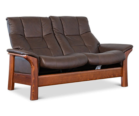 Stressless® Buckingham High Back Loveseat Paloma Chocolate - Scandinavian Designs