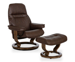 Stressless® Sunrise Recliner & Ottoman - Chocolate Medium / Paloma Chocolate - Scandinavian Designs
