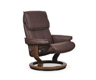 Stressless® Admiral Recliner & Ottoman - Chocolate Large / Paloma Chocolate - Scandinavian Designs