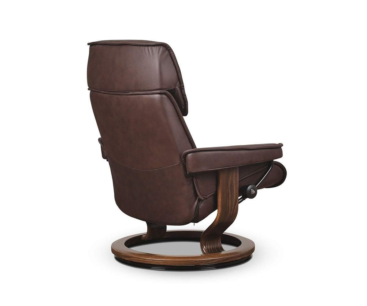 Stressless® Admiral Large Recliner & Ottoman - Chocolate - Scandinavian Designs