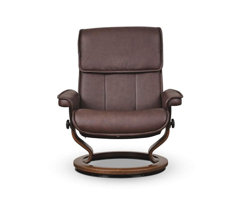 Stressless® Admiral Medium Recliner & Ottoman - Chocolate - Scandinavian Designs