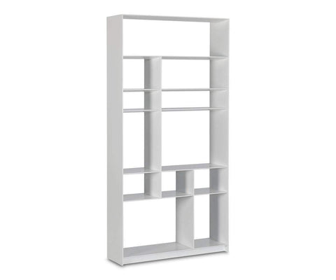 Contemporary white display shelves