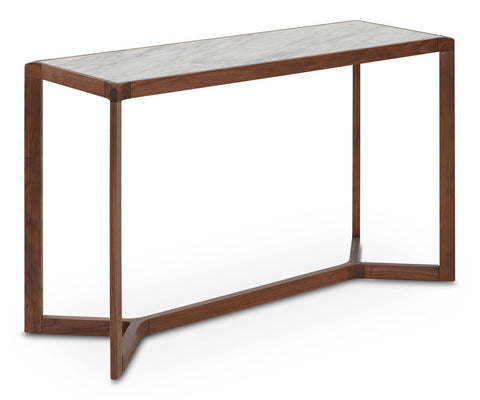 Eira Console Table White Marble + Walnut - Scandinavian Designs