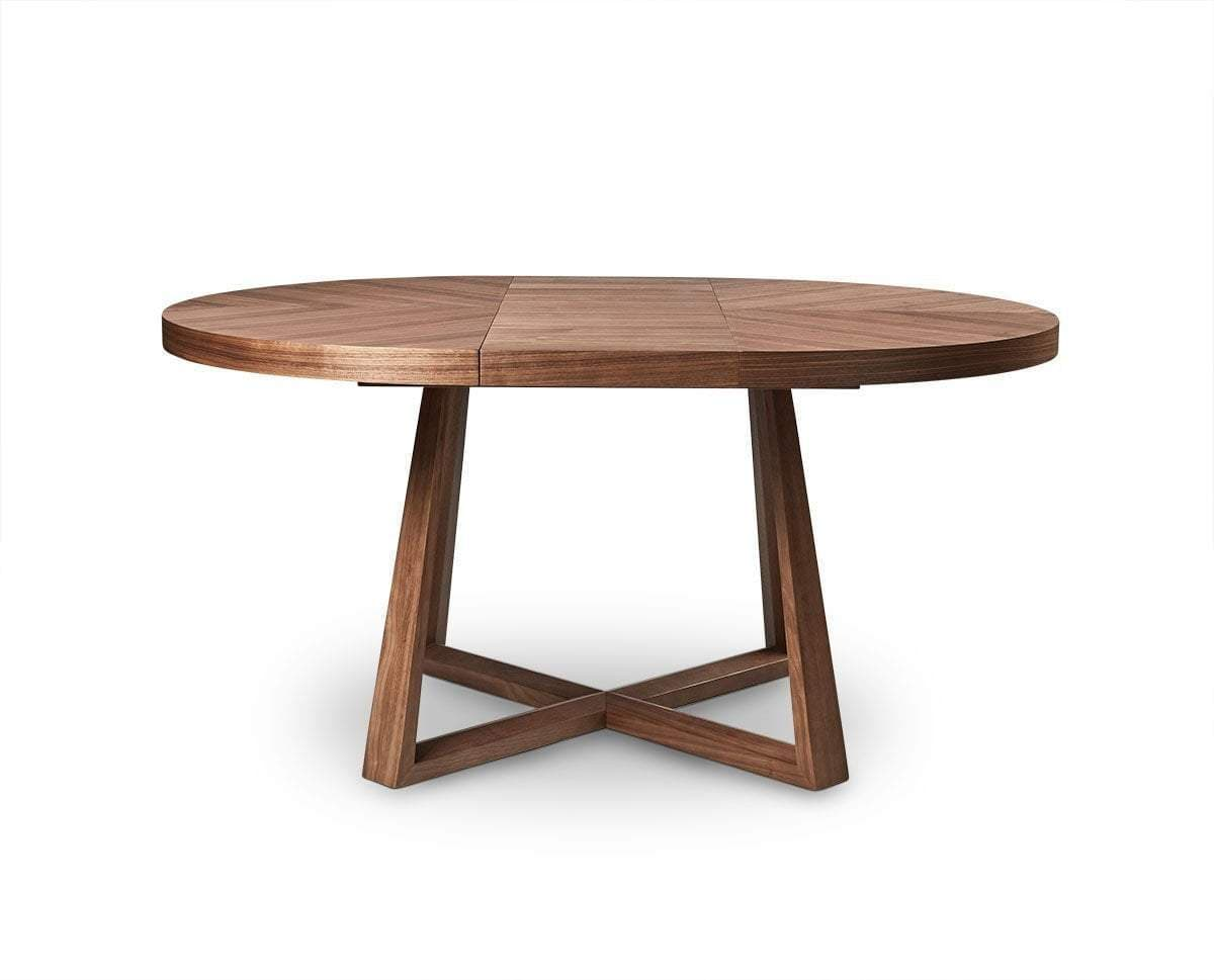 Oliver Round Extension Dining Table Natural Walnut Veneer - Scandinavian Designs