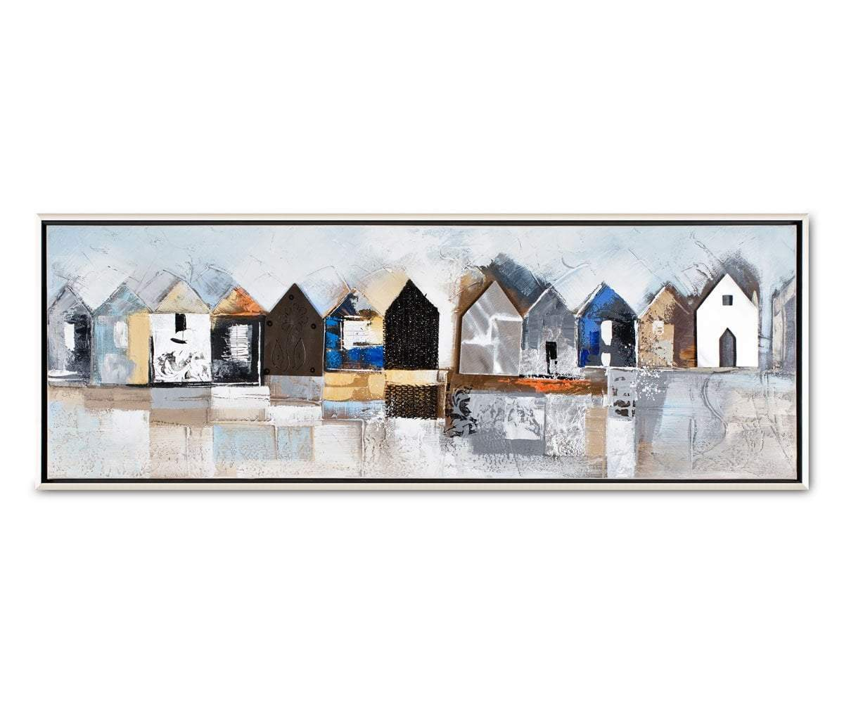 Fishing Village Oil Painting Multi - Scandinavian Designs