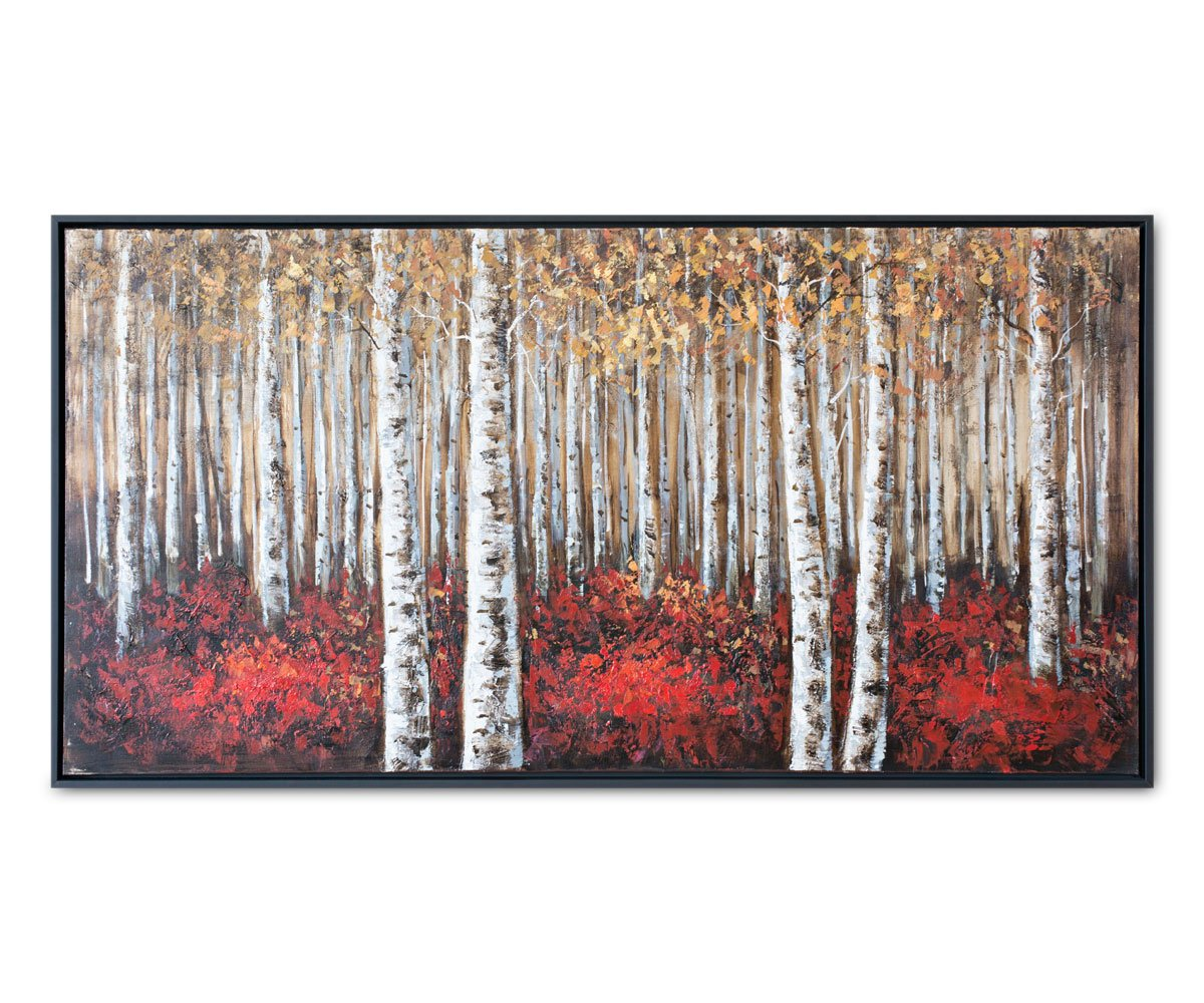 Solid Birch Trees Oil Painting Red/Multi - Scandinavian Designs