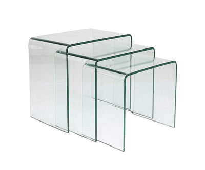 Reese Nest of Tables Clear Glass - Scandinavian Designs