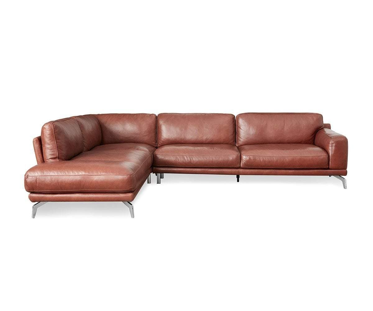 Peruna Leather Left Chaise Sectional - Scandinavian Designs