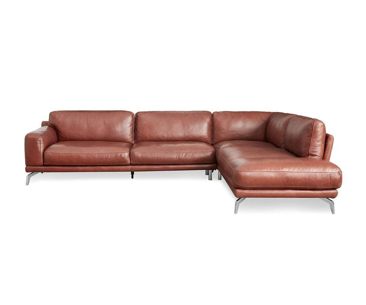 Peruna Leather Right Chaise Sectional - Scandinavian Designs