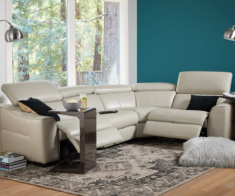 Megalo Leather Power Reclining Sectional Silver Grey Ncs-946b / FULL SECTIONAL - Scandinavian Designs