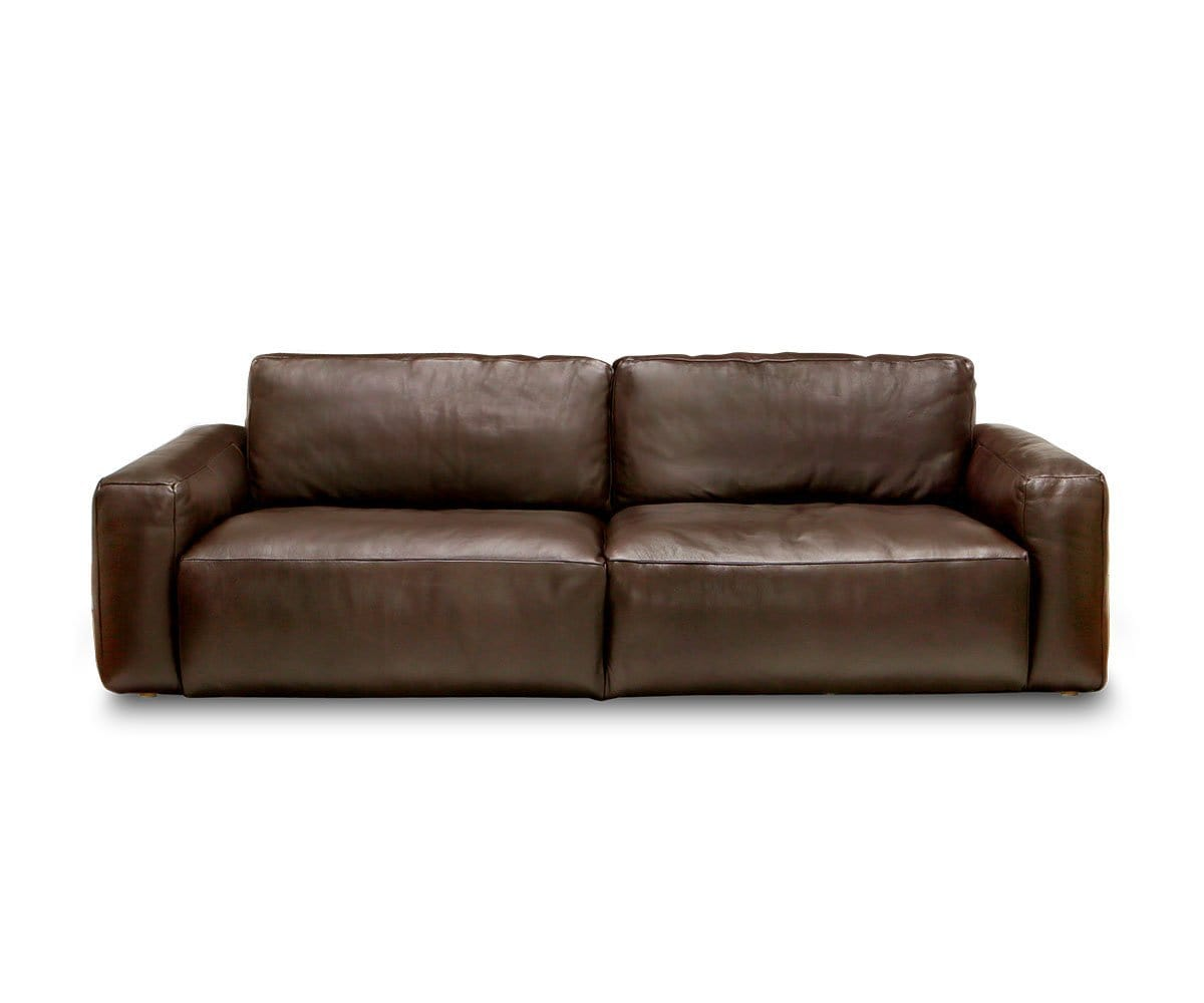 Malcolm Leather Sofa Deep Sheen Graphite - Scandinavian Designs