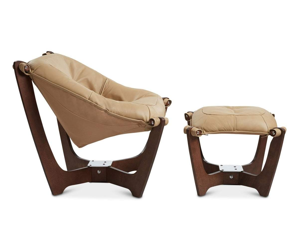 Luna Low Back Chair - Walnut Frame Latte P307 - Scandinavian Designs