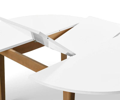 Eptri Round Extension Dining Table Eptri White/Natural - Scandinavian Designs