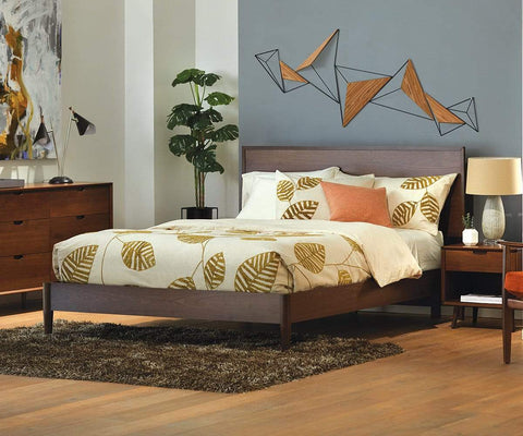 Juneau Panel Bed Walnut / Queen - Scandinavian Designs
