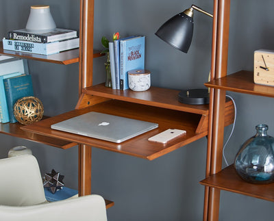 Magrit Modular Wall Unit Honey Brown / 1 Wide Bookcase + 1 Narrow Bookcase + 1 Desk - Scandinavian Designs