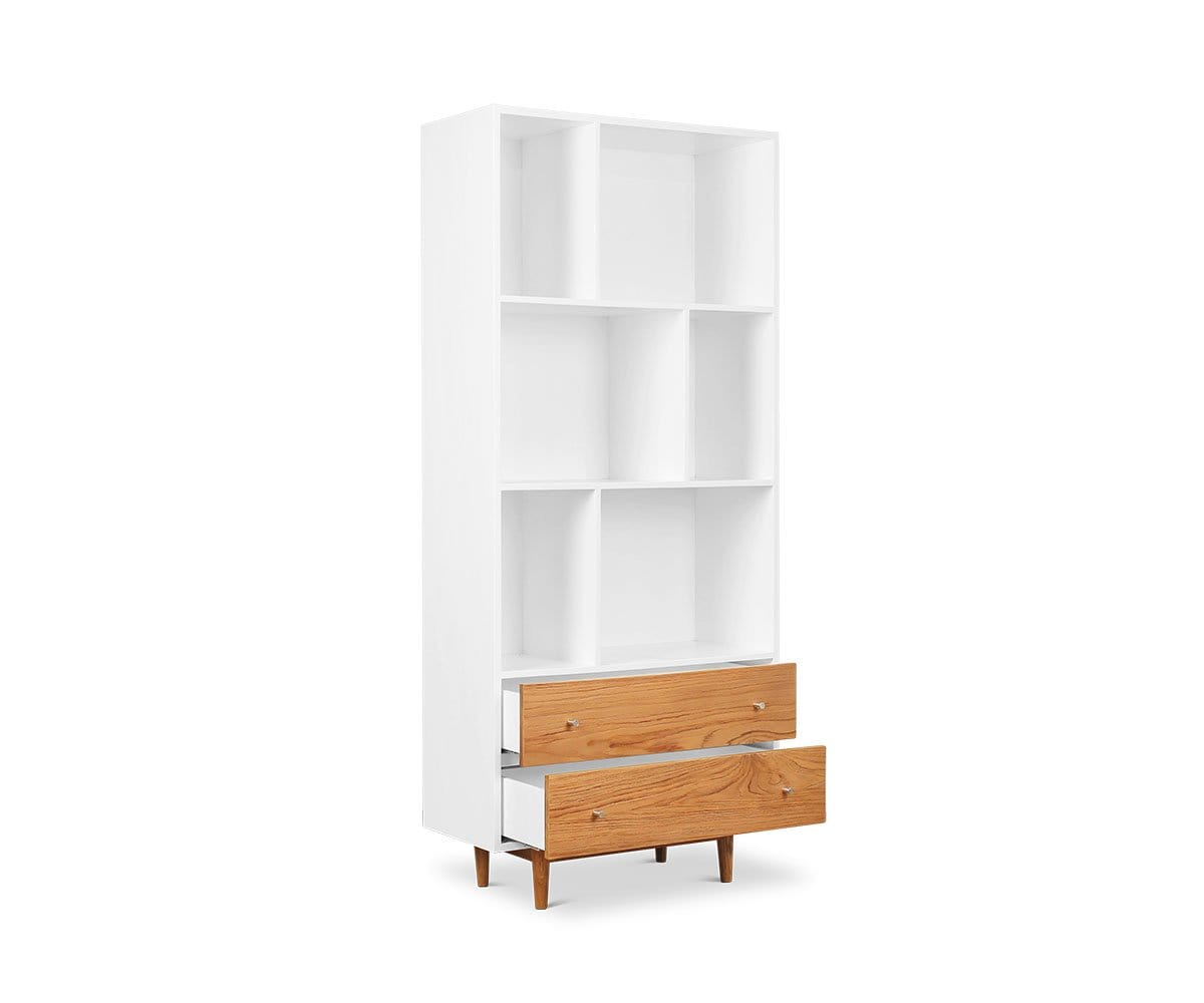 Vantar Bookcase White/Teak - Scandinavian Designs