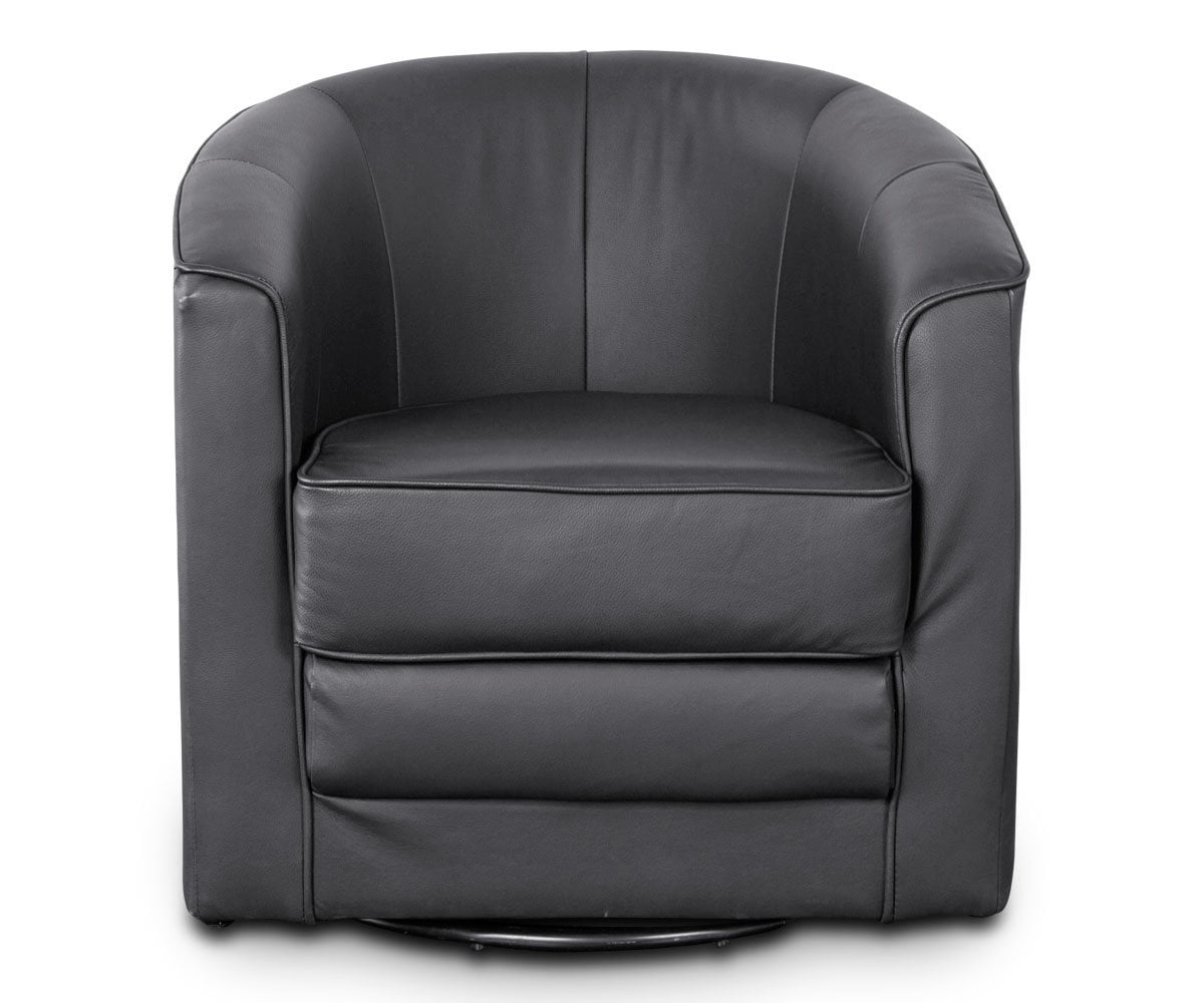 Theva Leather Swivel Chair Black Santos 002 - Scandinavian Designs