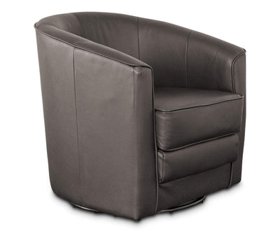 Theva Leather Swivel Chair - Brown Brown Santos 0035 - Scandinavian Designs