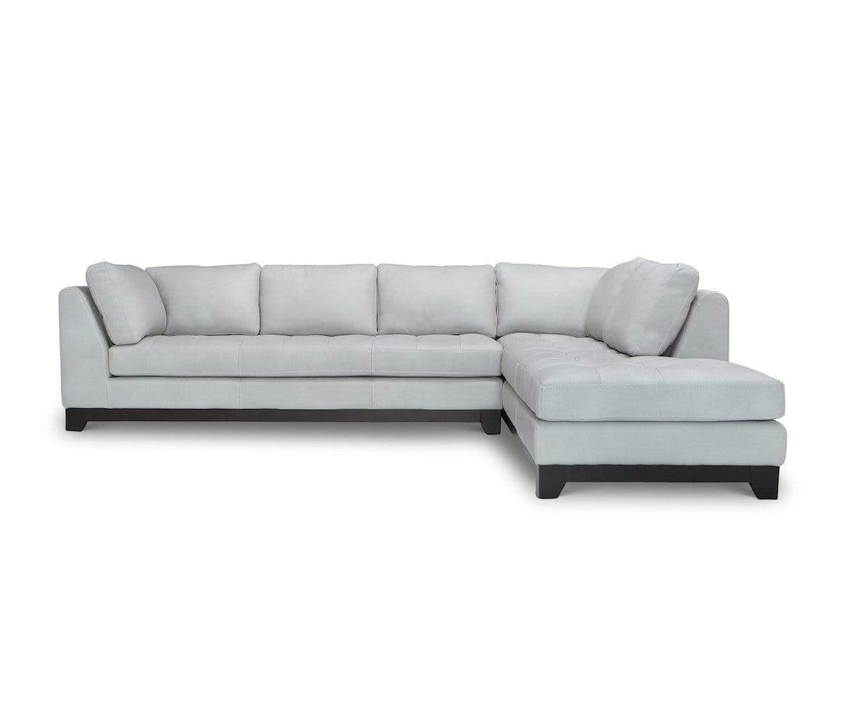 Evelina Leather Sectional Lucca Pebble - Scandinavian Designs