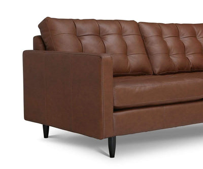Tora Leather Right Chaise Sectional Naples Cedar - Scandinavian Designs