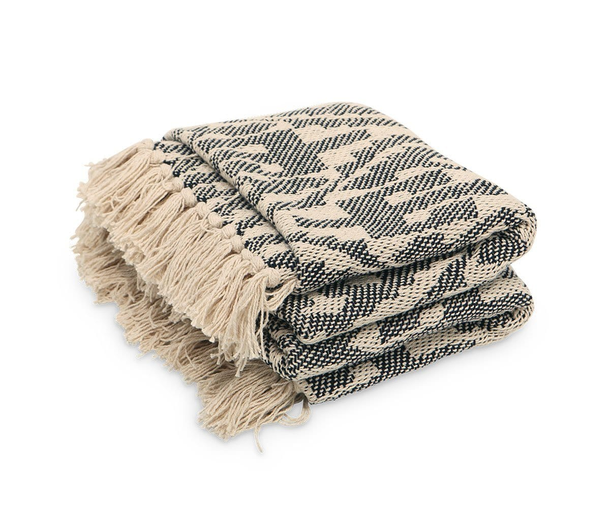 Hvaler Throw Blanket Beige/Black - Scandinavian Designs