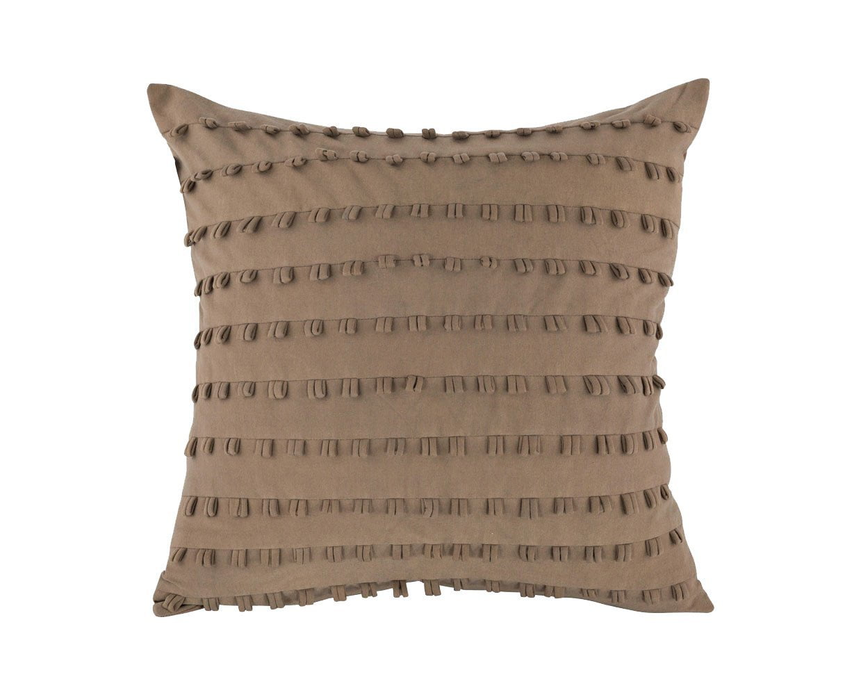 Cozy chic striped fringe beige pillow