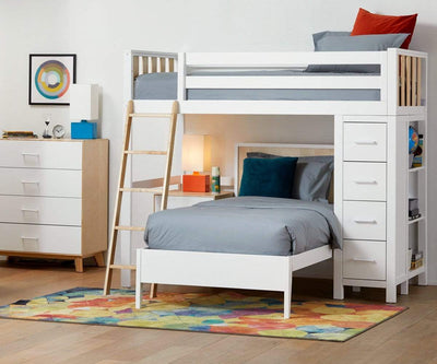 Rowan Twin Loft Bed White/Natural - Scandinavian Designs