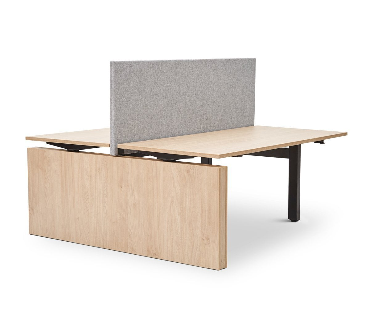 Jensen Double Sit Stand Desk with Reversible Panel OAK - Scandinavian Designs