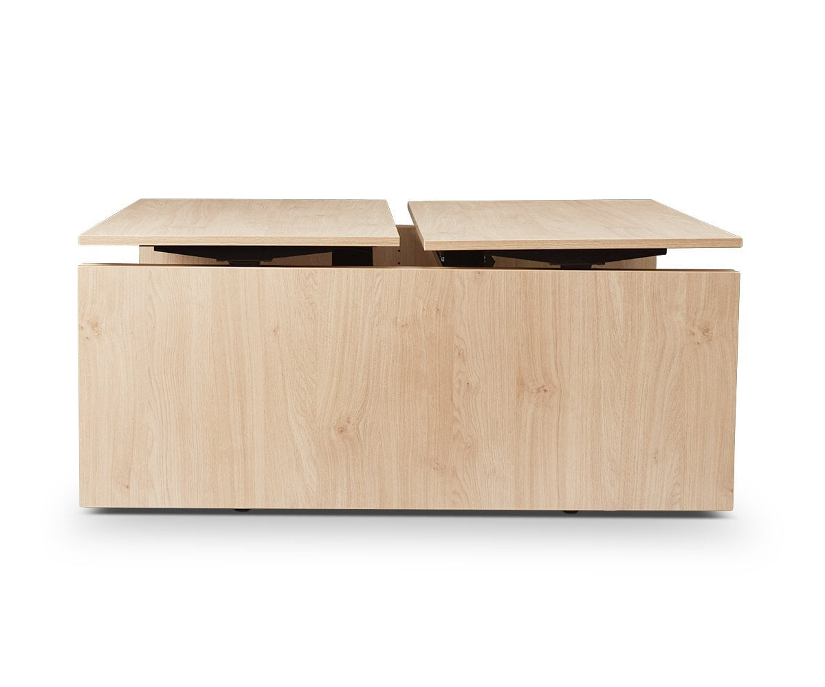 Jensen Double Sit Stand Desk with Panels OAK - Scandinavian Designs