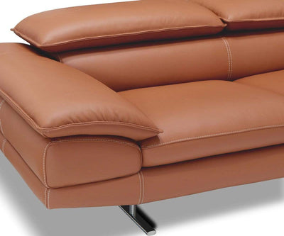 Mauro Leather Right Sectional Cognac 363/S - Scandinavian Designs