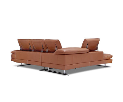 Mauro Leather Left Sectional Cognac 363/S - Scandinavian Designs