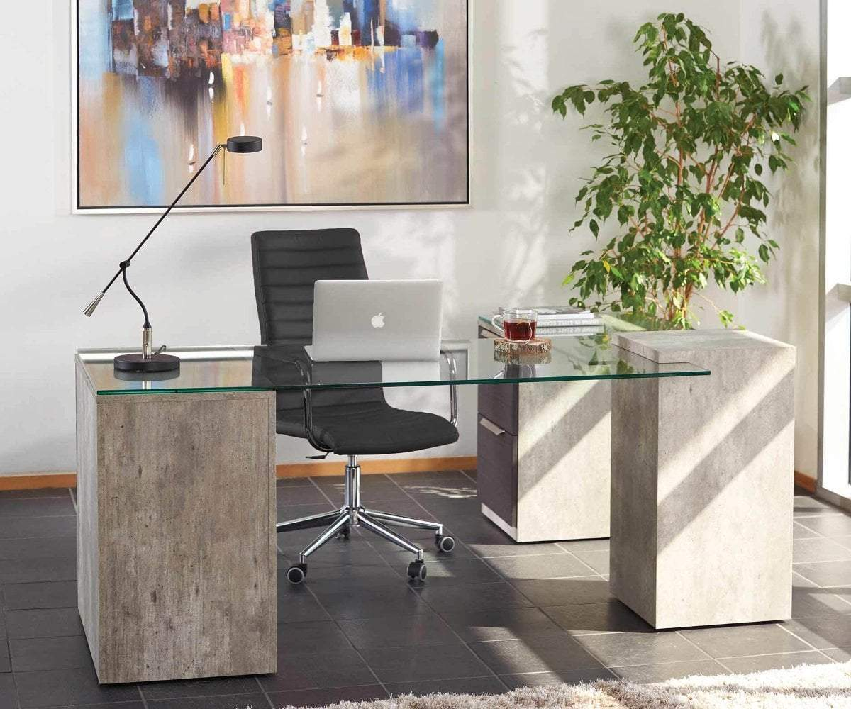 Alva Executive Desk, Right-Facing Return ALVA GREY - Scandinavian Designs