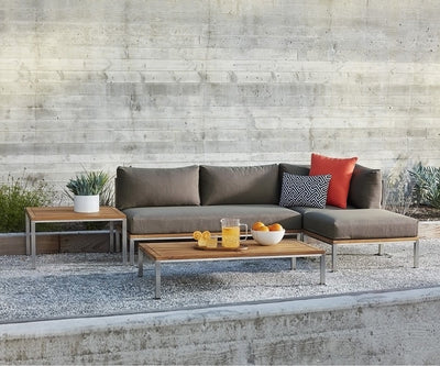 Farino Armless Sofa Taupe/Brushed Stainless Steel - Scandinavian Designs
