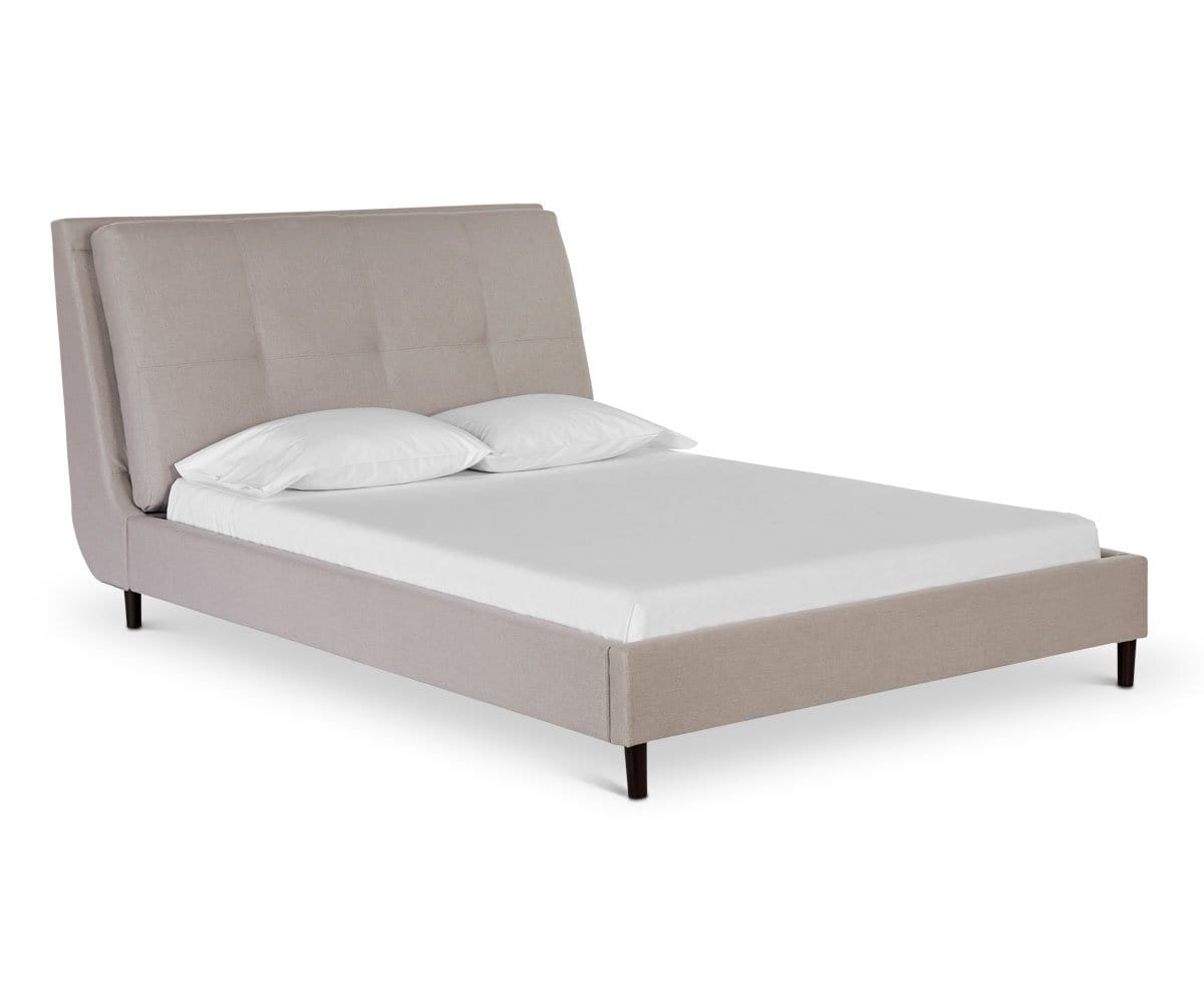 Tufted low profile Scandinavian style bed