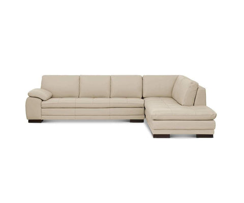 Plush silver leather tufted sectional chaise