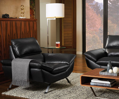Rolf Leather Chair BLACK MS-5657 - Scandinavian Designs