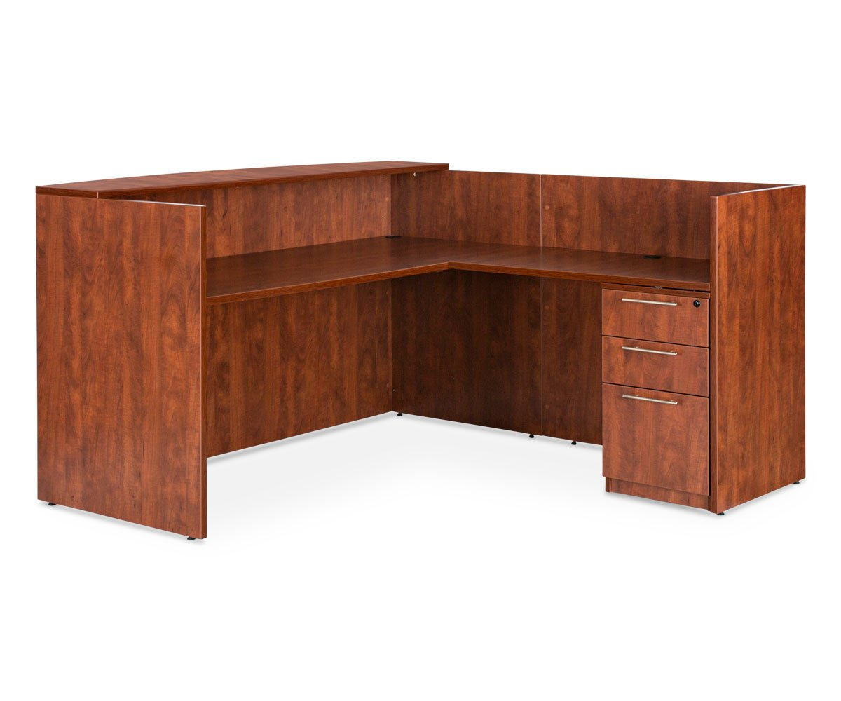 "Ritzo 42""W Reversible Reception Desk Return - Cherry RITZO CHERRY - Scandinavian Designs"