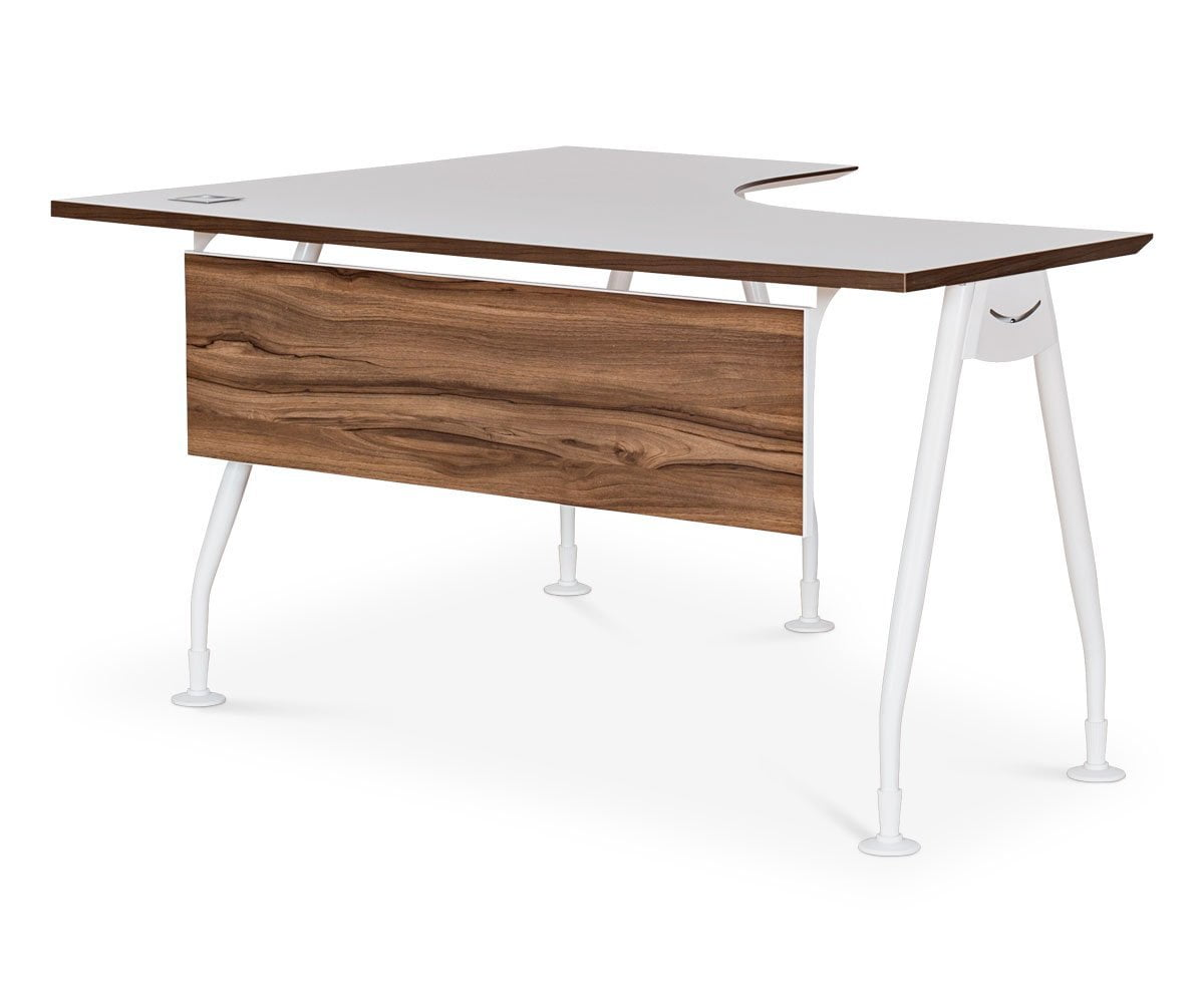 Sparsa L-Shaped Left Or Right Desk White/Walnut / RIGHT - Scandinavian Designs