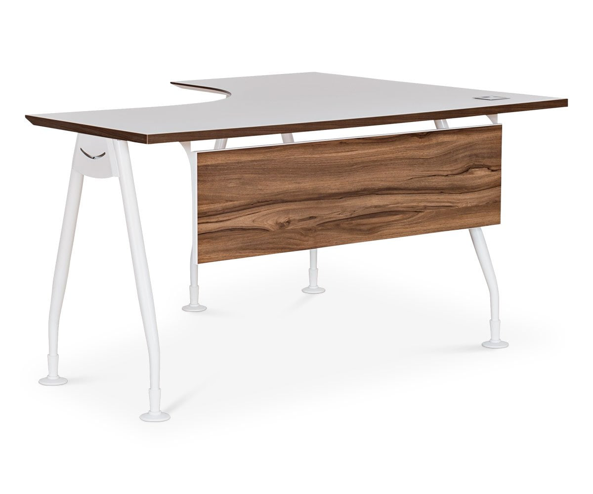 Sparsa L-Shaped Left Or Right Desk White/Walnut / LEFT - Scandinavian Designs