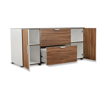 Sparsa Credenza White/Walnut - Scandinavian Designs